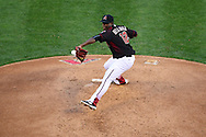Apr 23, 2016; Phoenix, AZ, USA; Arizona Diamondbacks starting pitcher Rubby De La Rosa (12) delivers a pitch against the Pittsburgh Pirates at Chase Field. The Arizona Diamondbacks won 7-1. Mandatory Credit: Jennifer Stewart-USA TODAY Sports