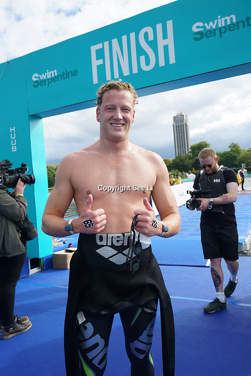 London, England, UK. 16th September 2017.Ferry Weertman winner of Elite men Swim Serpentine 2017 at Serpentine lake.