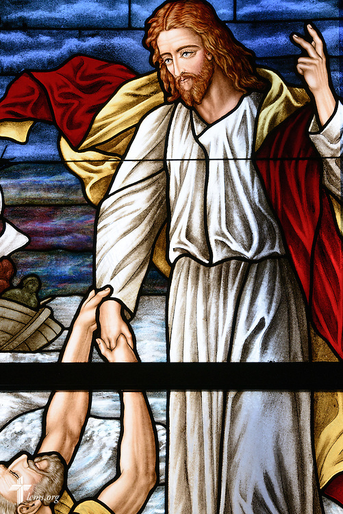 Stained glass of Jesus calming the storm at St. John's Lutheran Church of Plymouth, Wis., on Friday, Jan. 29, 2016. LCMS Communications/Erik M. Lunsford