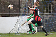 Fliss Gibbons chases the ball with Cherie Rowlands during the Women's FA Cup match between Watford Ladies FC and Brighton Ladies at the Broadwater Stadium, Berkhampstead, United Kingdom on 1 February 2015. Photo by Stuart Butcher.