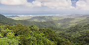 Panoramic view of El Yunque National Forest, looking north to San Juan, in the distance.
