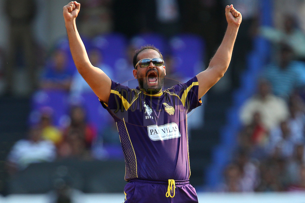 Yusuf PATHAN of the Kolkata Knight Riders celebrates the wicket of Aiden BLIZZARD of the Hobart Hurricanes  during the first semi final match of the Oppo Champions League Twenty20 between the Kolkata Knight Riders and the Hobart Hurricanes held at the Rajiv Gandhi Cricket Stadium, Hyderabad, India on the 2nd October 2014<br /> <br /> Photo by:  Ron Gaunt / Sportzpics/ CLT20<br /> <br /> <br /> Image use is subject to the terms and conditions as laid out by the BCCI/ CLT20.  The terms and conditions can be downloaded here:<br /> <br /> http://sportzpics.photoshelter.com/gallery/CLT20-Image-Terms-and-Conditions-2014/G0000IfNJn535VPU/C0000QhhKadWcjYs