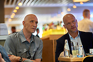Warsaw, Poland - 2018 June 12: (L) Maciej Szczesny and (R) Wojciech Kowalewski watch the soccer game while TV ONET studio in Novotel Football Night at Novotel Hotel on June 12, 2018 in Warsaw, Poland.<br /> <br /> Adam Nurkiewicz declares that he has no rights to the image of people at the photographs of his authorship.<br /> <br /> Picture also available in RAW (NEF) or TIFF format on special request.<br /> <br /> Any editorial, commercial or promotional use requires written permission from the author of image.<br /> <br /> Image can be used in the press when the method of use and the signature does not hurt people on the picture.<br /> <br /> Mandatory credit:<br /> Photo by © Adam Nurkiewicz / Mediasport