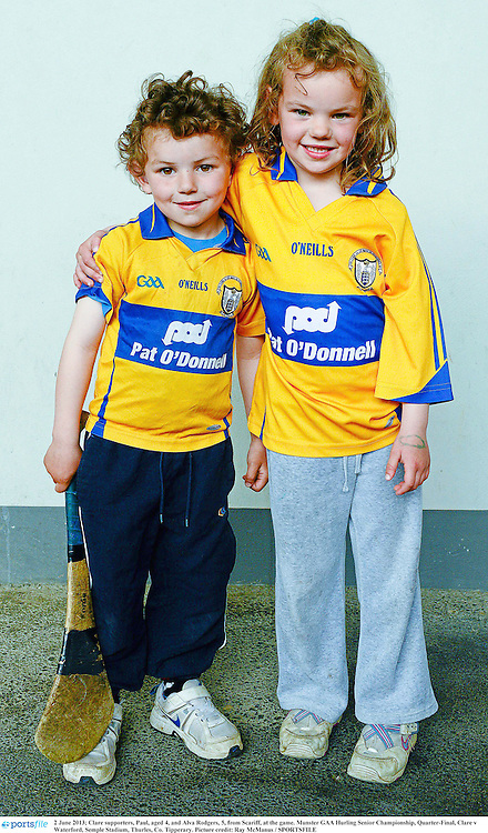 2 June 2013; Clare supporters, Paul, age 4, and Alva Rodgers, age 5, from Scariff, Co. Clare, at the game. Munster GAA Hurling Senior Championship, Quarter-Final, Clare v Waterford, Semple Stadium, Thurles, Co. Tipperary. Picture credit: Ray McManus / SPORTSFILE