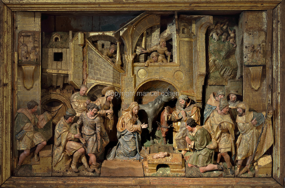 Nativity, sculptural group, 16th century, from Antwerp, from the Altarpiece of the Nativity, from the Colegio das Ursulines in Coimbra, in the Museu Nacional de Machado de Castro, Coimbra, Portugal. The museum was opened in 1913 and renovated 2004-2012. The city of Coimbra dates back to Roman times and was the capital of Portugal from 1131 to 1255. Its historic buildings are listed as a UNESCO World Heritage Site. Picture by Manuel Cohen