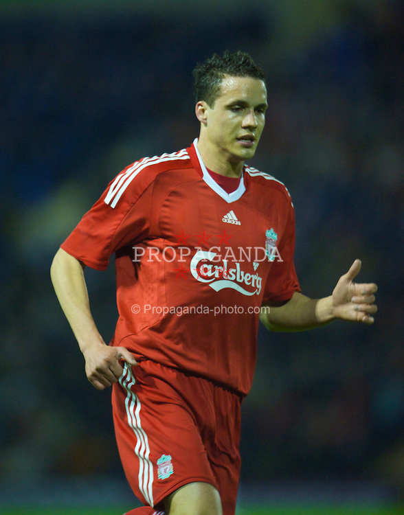 WARRINGTON, ENGLAND - Thursday, March 12, 2009: Liverpool's Philipp Degen in action against Manchester United during the FA Premiership Reserves League (Northern Division) match at the Halliwell Jones Stadium. (Photo by David Rawcliffe/Propaganda)