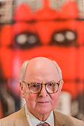 Gilbert & George in front of their major new picture, BEARD AWARE (2016),  at the Royal Academy of Arts 7 June 2016. On display as part of the Royal Academy's Summer Exhibition, BEARD AWARE (2016) is a new picture from the artist's ongoing group of work that references beards and barbed wire, and explores the ways in which both serve as devices to protect, disguise, intrigue and repel in the past, present and future.