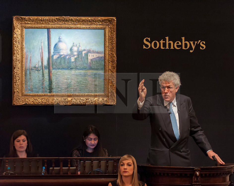 "© Licensed to London News Pictures. 03/02/2015. Sotheby's, London, UK. Sotheby's London Impressionist & Modern Art Evening Sale on 3 February 2015 presented an outstanding selection of the finest and rarest works of art by the greatest artists of the 19th and 20th centuries.  Leading the sale was a group of paintings by the undoubted master of Impressionism, Claude Monet, as well as works by Henri de Toulouse-Lautrec, Henri Matisse, Edgar Degas, Auguste Rodin, Wassily Kandinsky.  Pictured:""Le Grand Canal"" by Claude Monet which sold for 21 million pounds. Photo credit : Stephen Chung/LNP"