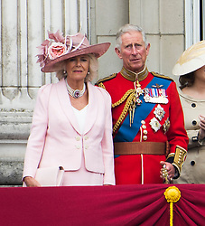 © London News Pictures.. 14/06/2014. Camilla, Duchess of Cornwall and Prince Charles on the balcony at Buckingham Palace during the annual Trooping the Colour Ceremony in central London. The event marks the queens official birthday. . Photo credit:Ben Cawthra/LNP