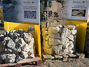 Border Stone display of rockery products on sale in a garden centre, UK