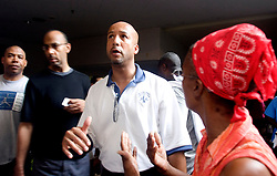 31st August, 2005. New Orleans Louisiana. Hurrican Katrina aftermath. Mayor Ray Nagin takes some heat from an angry refugee trapped at the Hyatt Hotel in New Orleans as he vents his frustration against the Governor and the President.<br /> Photo Credit ©: Charlie Varley/varleypix.com