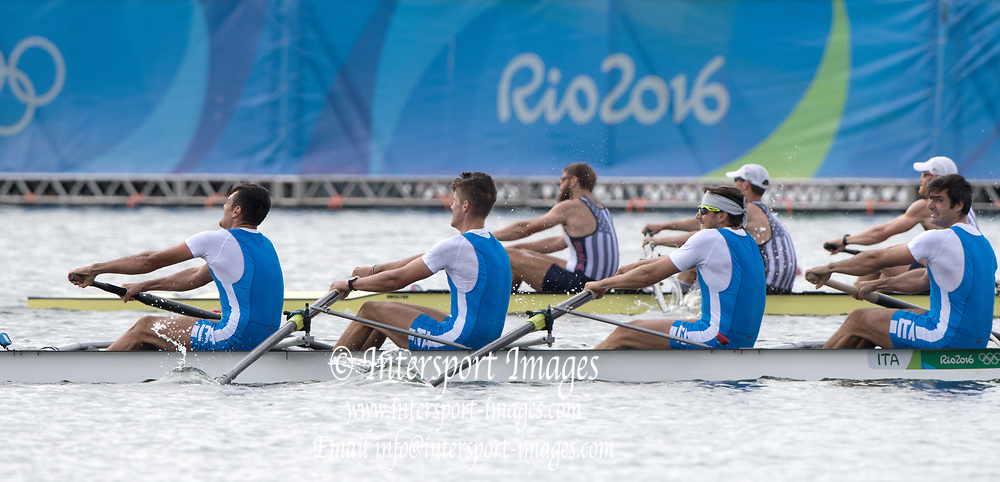 Rio de Janeiro. BRAZIL.   2016 Olympic Rowing Regatta. Lagoa Stadium,<br /> Copacabana,  &ldquo;Olympic Summer Games&rdquo;<br /> Rodrigo de Freitas Lagoon, Lagoa.   Thursday  11/08/2016 <br /> <br /> [Mandatory Credit; Peter SPURRIER/Intersport Images]