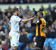 Guseppe Wootton of Leeds United remonstrates with Sone Aluko of Hull City during the Sky Bet Championship match at Elland Road, Leeds<br /> Picture by Graham Crowther/Focus Images Ltd +44 7763 140036<br /> 05/12/2015