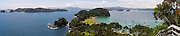 Panoramic view looking NE from atop Motuarohia Island. Bay of Islands, Northland, New Zealand.