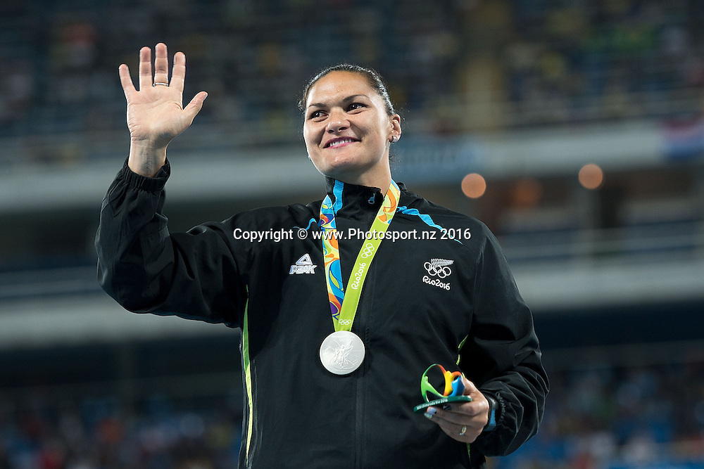 New Zealand's Valerie Adams holds her Silver medal during a medal ceremony for the Women's Shot Put in Olympic Stadium at the 2016 Rio Olympics on Saturday the 13th of August 2016. © Copyright Photo by Marty Melville / www.Photosport.nz