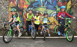 Young cyclists Tadgh Daly,  Darragh and Lauren Clarke, with Brian and Darren Daly lined up and ready at the the start of Westport Smarter Travel's Family Fun Cycle that took place through the streets of Westport on saturday last, as part of the programme of activities for European Mobility Week.<br /> Pic Conor McKeown
