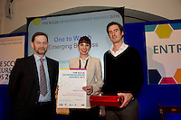 "Tom Connell from SCCUL presented ""Ones to Watch - Emerging Business"" prize to Dorothy Creaven"