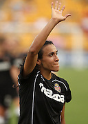 ATLANTA, GA - AUGUST 06:  Forward Marta #10 of the Western NY Flash waves to the crowd during the Women's Professional Soccer game between the Atlanta Beat and the Western New York Flash at Kennesaw State University Soccer Stadium on August 6, 2011 in Atlanta, Georgia.  The Flash beat the Beat 2-0.  (Photo by Mike Zarrilli/Getty Images)