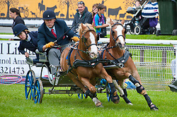 © Licensed to London News Pictures. 18/05/2019. Llanelwedd, Powys, Wales, UK. Harness races take place  on the first day of the Smallholding and Countryside Festival - A celebration of rural life – at the Royal Welsh Agricultural Society showground, Llanelwedd in Powys, UK. Photo credit: Graham M. Lawrence/LNP
