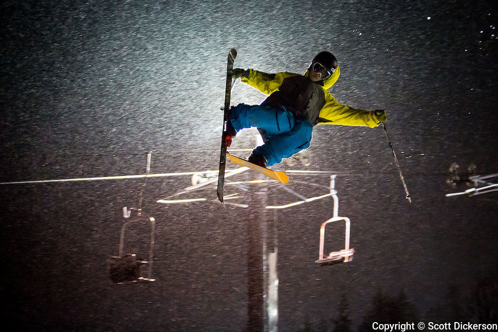 Max Durtschi competing in the Frostbite Festival - Big Air competition at Alyeska Resort, Girdwood, Alaska.