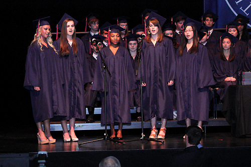 The MVS senior RAMblers (Corri Johnson, Beatrice Lovett, Bli Toto, Katherine Wood and Lauren Yu) perform during the Miami Valley School 39th annual commencement at the Victoria Theatre in downtown Dayton, June 7, 2012.