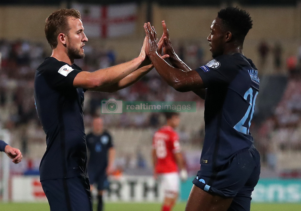 England's Harry Kane and Danny Welbeck celebrate a goal during the 2018 FIFA World Cup Qualifying, Group F match at the National Stadium, Ta' Qali. PRESS ASSOCIATION Photo. Picture date: Friday September 1, 2017. See PA story SOCCER Malta. Photo credit should read: Nick Potts/PA Wire. RESTRICTIONS: Use subject to FA restrictions. Editorial use only. Commercial use only with prior written consent of the FA. No editing except cropping.