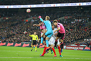 England Goalkeeper Joe Hart  punches clear during the FIFA World Cup Qualifier group stage match between England and Scotland at Wembley Stadium, London, England on 11 November 2016. Photo by Phil Duncan.