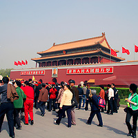 Asia, China, Beijing. Crowds at Forbidden City entrance.