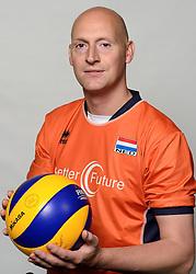 Geert va den Heuvel09-05-2014 NED: Selectie Nederlands zitvolleybal team mannen, Leersum<br /> In sporthal De Binder te Leersum werd het Nederlands team zitvolleybal seizoen 2014-2015 gepresenteerd / Geert van den Heuvel