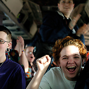 (03/09/06).Angel Collie, 20 and Di Graves, 22 cheer as the excitement builds on the Equality Ride bus as they leave Washington D.C. for Liberty University in Lynchburg, VA the first of 19 colleges and Universities on their Freedom Journey.(Times Photo Willie J. Allen Jr.)