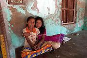India. Girls at home in Tranquebar.