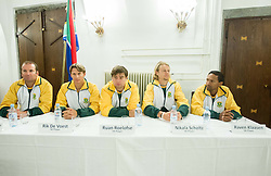 Players of South Africa during draw of Davis cup Slovenia vs South Africa competition on September 12, 2013 in City hall, Ljubljana, Slovenia. (Photo by Vid Ponikvar / Sportida.com)