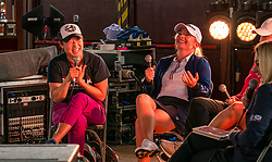 Pictured: Fringe by the Sea, North Berwick, East Lothian, Scotland, United Kingdom, 06 August 2019. Top female golfers competing in the Aberdeen Standard Investments Ladies Scottish Open this week appear on a panel and take questions from the audience, as part of a podcast called On the Dance Floor. Pictured: from L to R Tiffany Joh (USA), Bronte Law (UK).<br /> <br /> Sally Anderson | EdinburghElitemedia.co.uk