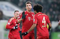 Fotball<br /> Tyskland<br /> 15.02.2013<br /> Foto: Witters/Digitalsport<br /> NORWAY ONLY<br /> <br /> 0:1 Jubel v.l. Torschuetze Mario Mandzukic, Dante (Bayern)<br /> <br /> Fussball, Bundesliga, VfL Wolfsburg - FC Bayern München 0:2