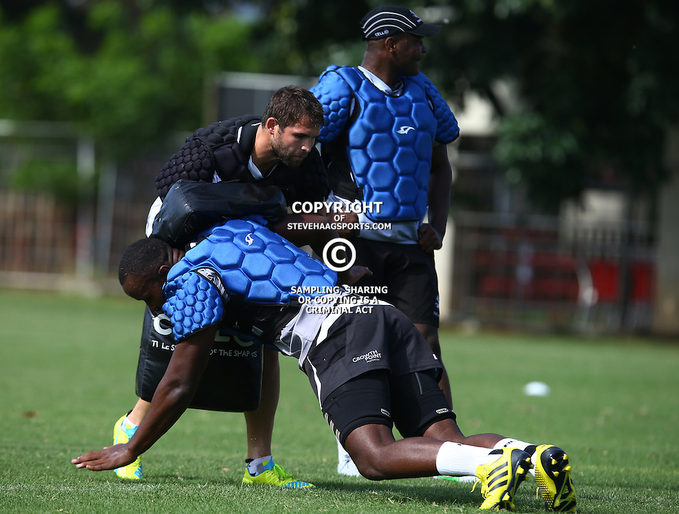 DURBAN, SOUTH AFRICA, Tuesday, 23rd February 2016 -  Cobus Reinach looks at Tjiuee Uanivi during The Cell C Sharks  Media Interviews in The Sharks Gym,and Pre Season training for the 2016 Super Rugby Season at Growthpoint Kings Park in Durban, South Africa. (Photo by Steve Haag)<br /> images for social media must have consent from Steve Haag