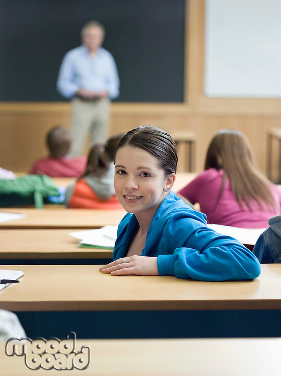 Student in lecture room portrait