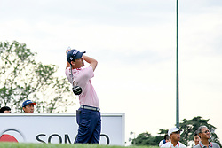 October 13, 2018 - Kuala Lumpur, Malaysia - Chesson Hadley of the United States plays his shot on the 1st green during round three of the CIMB Classic at TPC Kuala Lumpur on 13 October, 2018 in Kuala Lumpur, Malaysia  (Credit Image: © Chris Jung/NurPhoto via ZUMA Press)