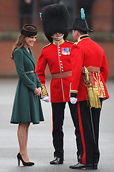 Catherine, Duchess of Cambridge at the 1st Battalion Irish Guards  St Patricks Day Parade at Mons Barracks, Aldershot, Saturday 17th March 2012. .Photo by: Stephen Lock / i-Images.Catherine, Duchess of Cambridge at the 1st Battalion Irish Guards  St Patricks Day Parade at Mons Barracks, Aldershot, Saturday 17th March 2012. .Photo by: Stephen Lock / i-Images.