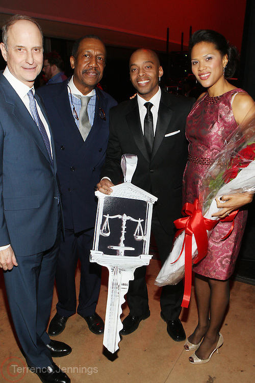 24 January 2011- Harlem, NY- l to r: Dr. Paul LeClerc, George Faison, Dr. Khalil Gibran Muhammad and Stephanie Lawson-Muhammad backstage at The Schomburg Center's 85th Anniversary Gala Celebration held at Aaron Davis Hall  on The City College Campus, January 24, 2011 in the Village of Harlem, New York City.  Photo Credit: Terrence Jennings