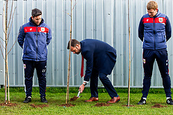 Mark Ashton in action as Representatives of Bristol City take part in a ceremony to plant tree's in memory of the 7 Bristol City player's who lost their lives serving during WW1 - Rogan/JMP - 09/11/2018 - FOOTBALL - Failand Training Ground - Bristol, England.