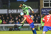 Forest Green Rovers Shamir Mullings(18) heads the ball forward during the Vanarama National League first leg play off match between Dagenham and Redbridge and Forest Green Rovers at the London Borough of Barking and Dagenham Stadium, London, England on 4 May 2017. Photo by Shane Healey.