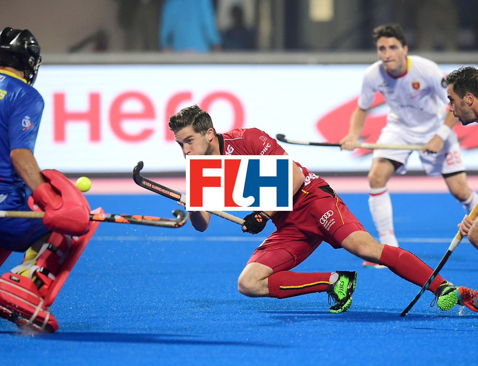 Odisha Men's Hockey World League Final Bhubaneswar 2017<br /> Match id:07<br /> Belgium v Spain<br /> Foto: Cedric Charlier (Bel) and keeper Quico Cortes (Esp) <br /> WORLDSPORTPICS COPYRIGHT FRANK UIJLENBROEK