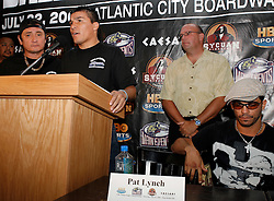 July 19, 2006 - Welterweight Champion Carlos Baldomir at the final press conference for his July 22nd fight against Arturo Gatti.  The two will meet for Baldomir's title at Boardwalk Hall in Atlantic City, NJ.