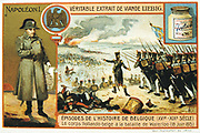 Dutch and Belgian forces in action at the Battle of Waterloo, 8 June 1815. Liebig trade card c1900. Chromolithograph.