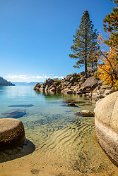 """Secret Cove in Autumn 3"" - Photograph of fall foliage along the shore at Secret Cove, Lake Tahoe."