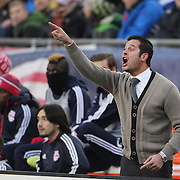New York Red Bulls Head Coach Mike Petke shouts instructions from the sideline during the New England Revolution Vs New York Red Bulls, MLS Eastern Conference Final, second leg. Gillette Stadium, Foxborough, Massachusetts, USA. 29th November 2014. Photo Tim Clayton