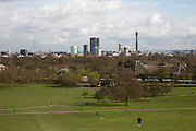 Landscpape view of the London skyline with iconic buildings including The Shard, BT Tower, London Eye, Saint Paul's Cathedral from Primrose Hill, London, England, United Kingdom.  (photo by Andrew Aitchison / In pictures via Getty Images)