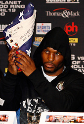 February 19, 2008; Newark, NJ, USA;  Ring Magazine Light Heavyweight Champion Bernard Hopkins holds up an American Flag presented to him from the troops in Iraq in support for his upcoming fight against Ring Magazine Super Middleweight Champion Joe Calzaghe on April 19, 2008.  The two will meet at the Thomas & Mack Center in Las Vegas, NV.