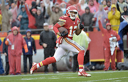 Dec 13, 2015; Kansas City, MO, USA; Kansas City Chiefs wide receiver Albert Wilson (12) runs in for a touchdown during the first half against the San Diego Chargers at Arrowhead Stadium. Mandatory Credit: Denny Medley-USA TODAY Sports