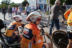 Chantal Blaak (NED) of Boels-Dolmans Cycling Team concentrates before the start of the Crescent Vargarda - a 42.5 km team time trial, starting and finishing in Vargarda on August 11, 2017, in Vastra Gotaland, Sweden. (Photo by Balint Hamvas/Velofocus.com)